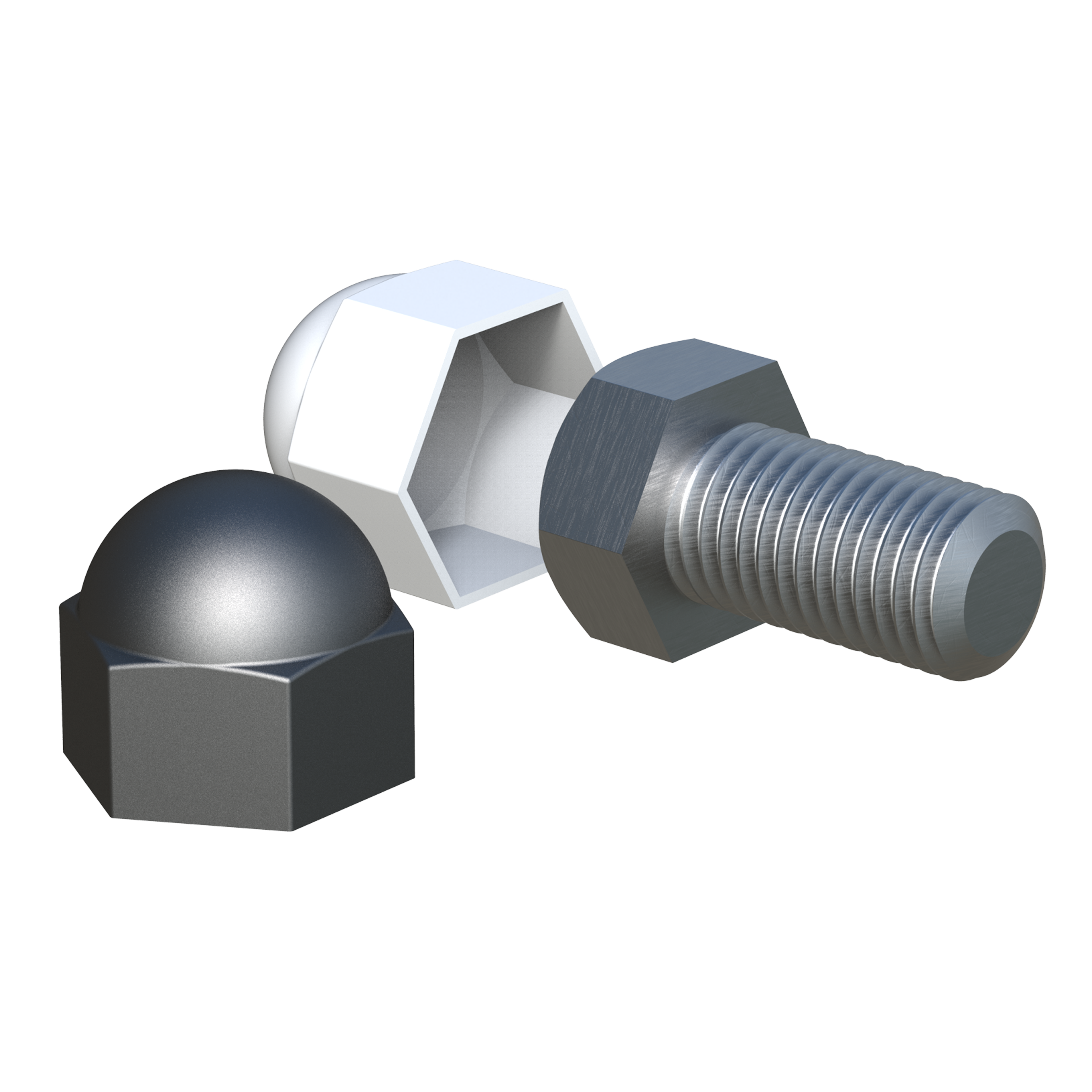 Cap for screws and hex nuts