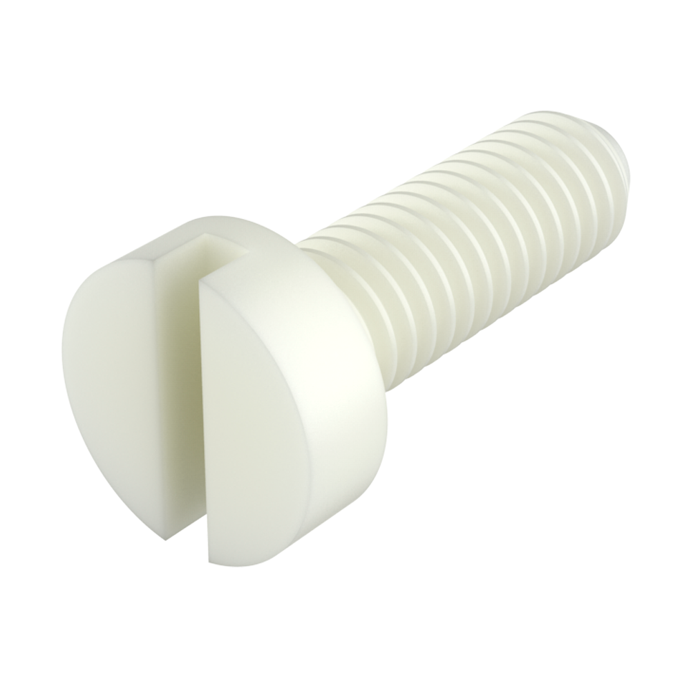 Our nylon cheese slotted head screws (DIN 84 screws) provide excellent resistance against chemicals (see table of properties). It is a material with a high level of dielectric strength, it does not rust and prevents damage due to breaking strength during mechanical stress.