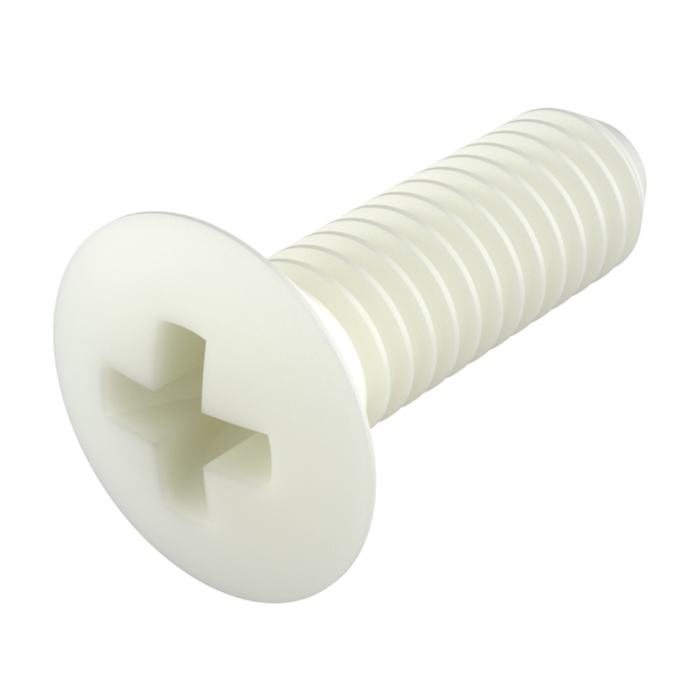 Our nylon oval phillips head screws (raised countersunk phillips head screws) (DIN 7988 screws) provide excellent resistance against chemicals (see table of properties). It is a material with a high level of dielectric strength, it does not rust and prevents damage due to breaking strength during mechanical stress.