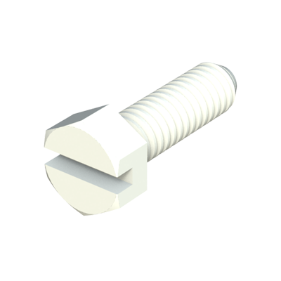 Our nylon hexagonal slotted head screws (DIN 962 screws) provide excellent resistance against chemicals (see table of properties). It is a material with a high level of dielectric strength, it does not rust and prevents damage due to breaking strength during mechanical stress. We offer some sizes of screws (1/4-20) manufactured in PC (polycarbonate) transparent.
