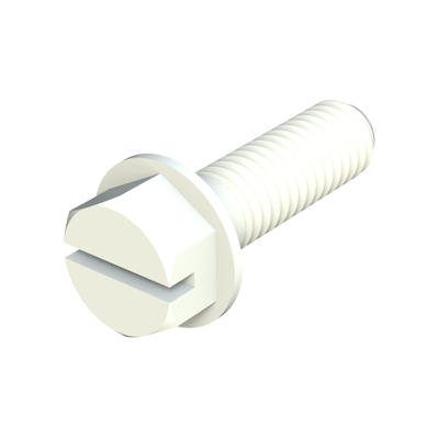 Hexagonal slotted head screw with flange