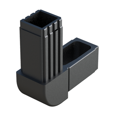 Elbow connector for square tubes