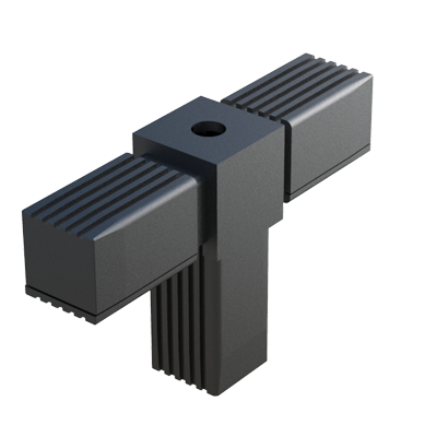 T connector for square tubes with thread